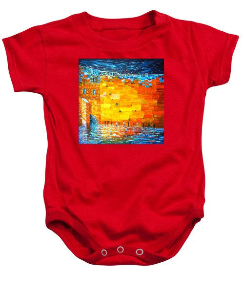Baby Onesie featuring the painting Jerusalem Wailing Wall Original Acrylic Palette Knife Painting by Georgeta Blanaru