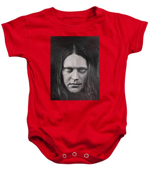 Baby Onesie featuring the drawing Jonas P Renkse Musician From Katatonia Band By Julia Art by Julia Art