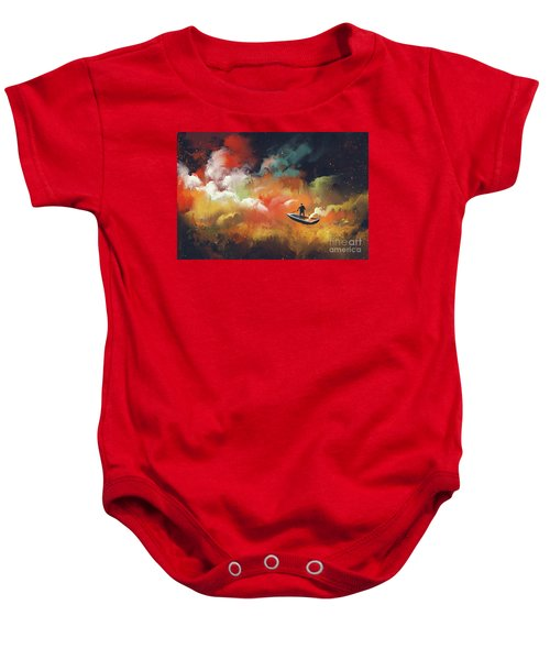 Baby Onesie featuring the painting Journey To Outer Space by Tithi Luadthong