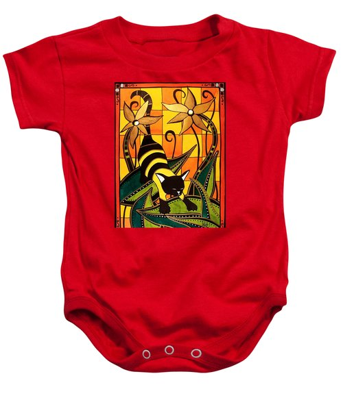 Baby Onesie featuring the painting Kitty Bee - Cat Art By Dora Hathazi Mendes by Dora Hathazi Mendes