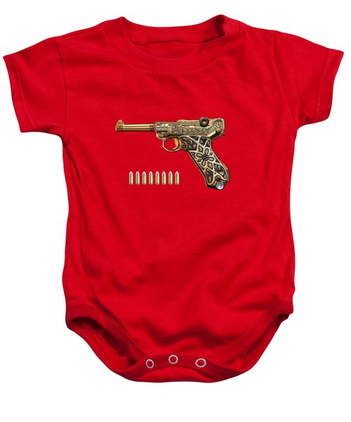 Krieghoff Presentation P.08 Luger With Ammo Over Red Velvet  Baby Onesie