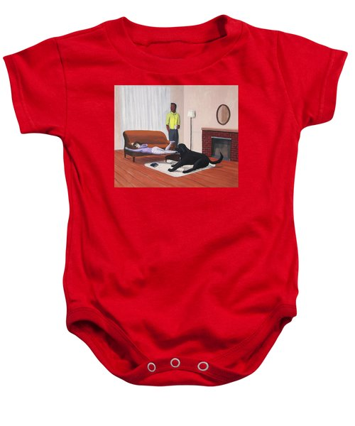 Lady Pulling Mommy Off The Couch Baby Onesie