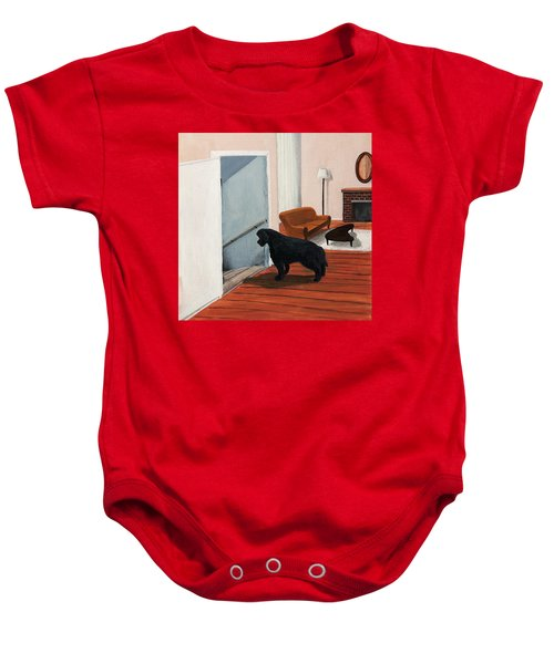 Lady Stares Down The Big Stairs Baby Onesie