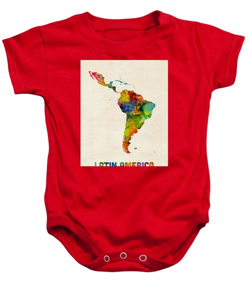 Latin America Watercolor Map Baby Onesie
