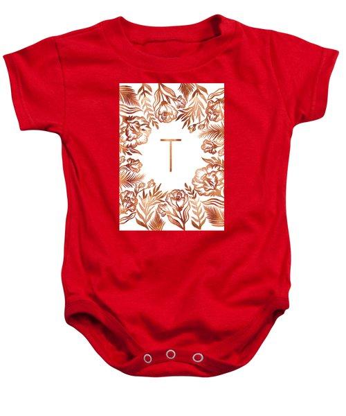 Letter T - Rose Gold Glitter Flowers Baby Onesie