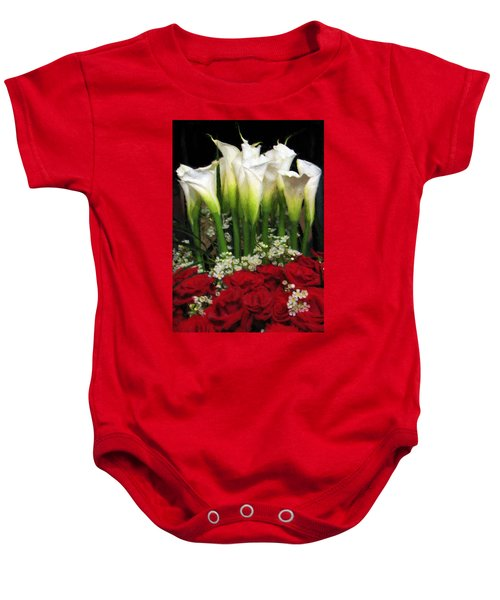 Baby Onesie featuring the digital art Lilies And Red Roses by Charmaine Zoe