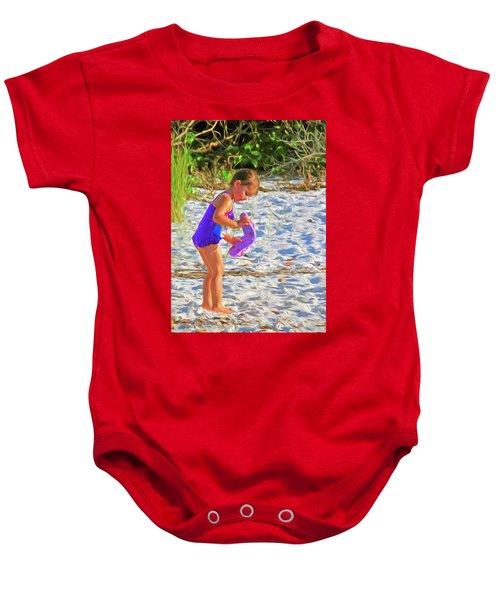 Little Beach Girl With Flip Flops Baby Onesie