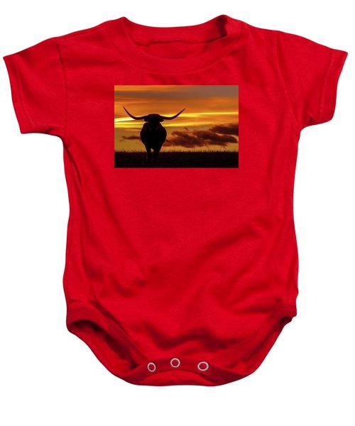 Longhorn At Sunset Baby Onesie