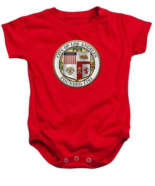 Los Angeles City Seal Over Red Velvet Baby Onesie by Serge Averbukh