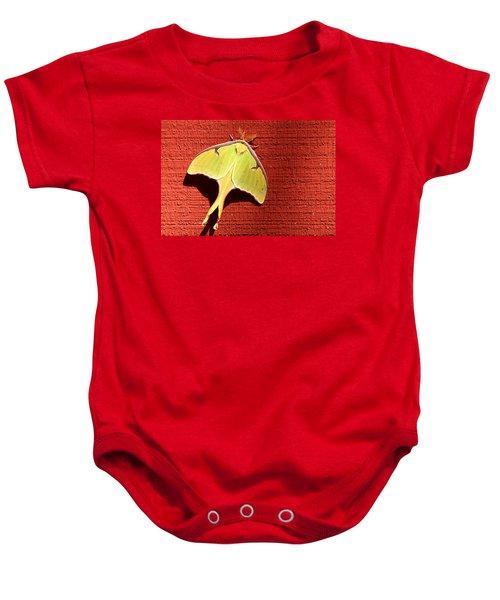 Luna Moth On Red Barn Baby Onesie