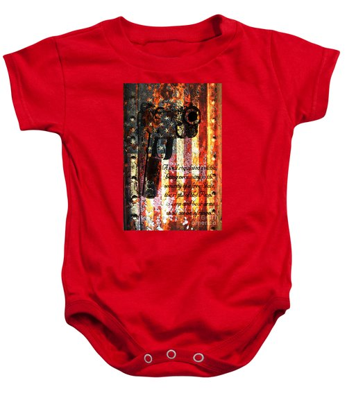 M1911 Pistol And Second Amendment On Rusted American Flag Baby Onesie