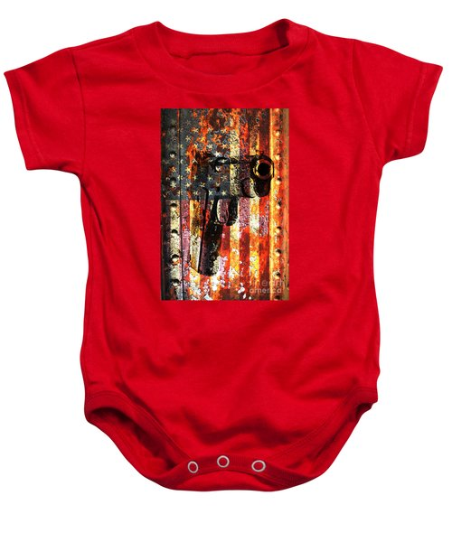 M1911 Silhouette On Rusted American Flag Baby Onesie
