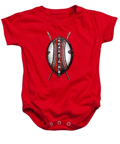 Maasai War Shield With Spears On Red Velvet  Baby Onesie