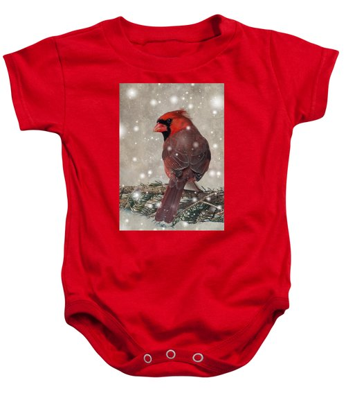 Male Cardinal In Snow #1 Baby Onesie