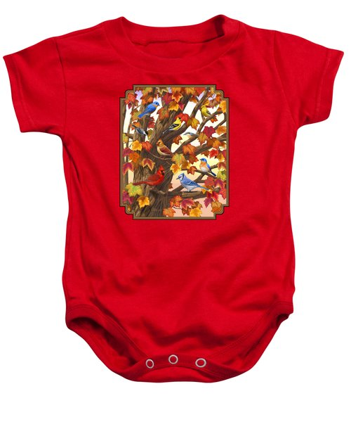 Maple Tree Marvel - Bird Painting Baby Onesie by Crista Forest