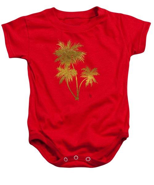 Metallic Gold Palm Trees Tropical Trendy Art Baby Onesie