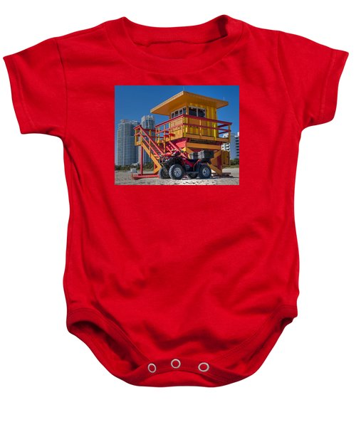 Miami Beach Lifeguard House Ocean Rescue Baby Onesie by Toby McGuire