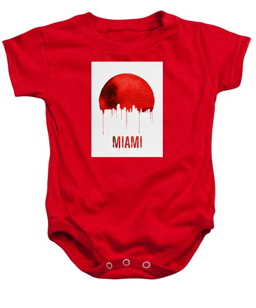 Miami Skyline Red Baby Onesie by Naxart Studio