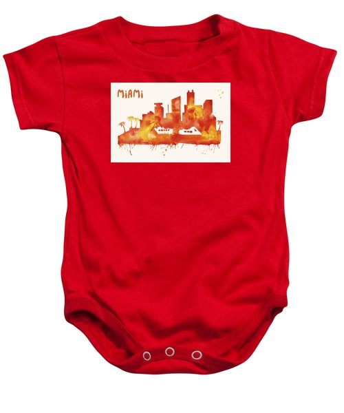 Miami Skyline Watercolor Poster - Cityscape Painting Artwork Baby Onesie by Beautify My Walls