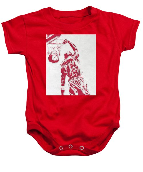 Michael Jordan Chicago Bulls Pixel Art 1 Baby Onesie by Joe Hamilton