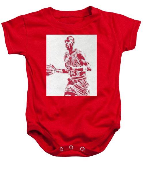 Michael Jordan Chicago Bulls Pixel Art 2 Baby Onesie by Joe Hamilton