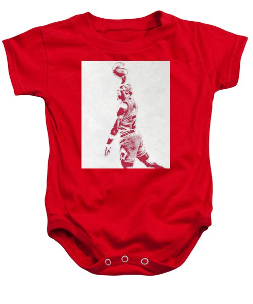 Michael Jordan Chicago Bulls Pixel Art 3 Baby Onesie by Joe Hamilton
