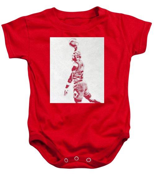 Michael Jordan Chicago Bulls Pixel Art 3 Baby Onesie