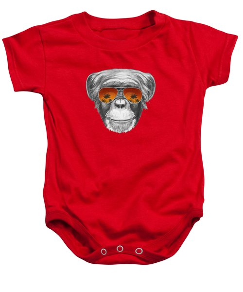 Monkey With Mirror Sunglasses Baby Onesie by Marco Sousa