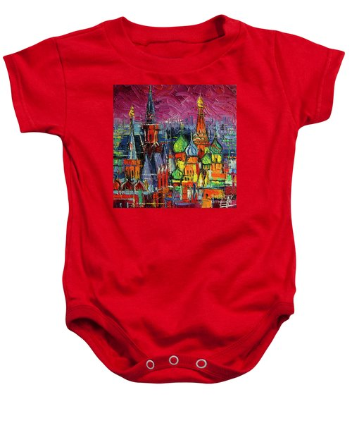 Moscow Red Square View Textural Impressionist Stylized Cityscape Baby Onesie