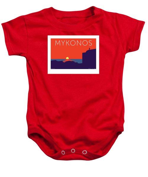 Mykonos Sunset Silhouette - Orange Baby Onesie