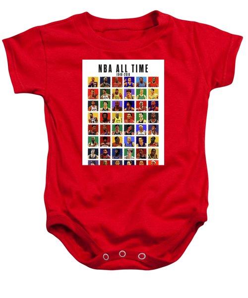 Nba All Times Baby Onesie by Semih Yurdabak