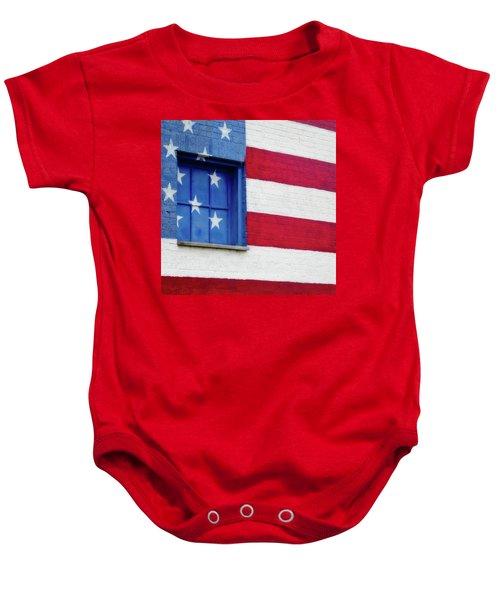 Old Glory, American Flag Mural, Street Art Baby Onesie