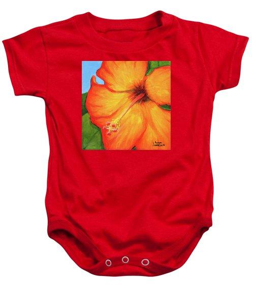 Orange Hibiscus Flower Baby Onesie