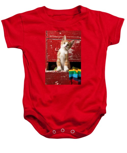 Orange Tabby Kitten In Red Drawer  Baby Onesie