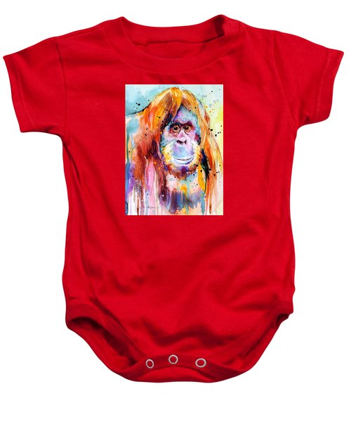 Orangutan  Baby Onesie by Slavi Aladjova
