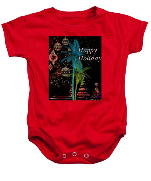Palm Trees Happy Holidays Baby Onesie