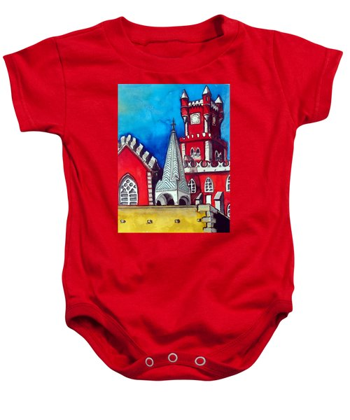Baby Onesie featuring the painting Pena Palace In Portugal by Dora Hathazi Mendes