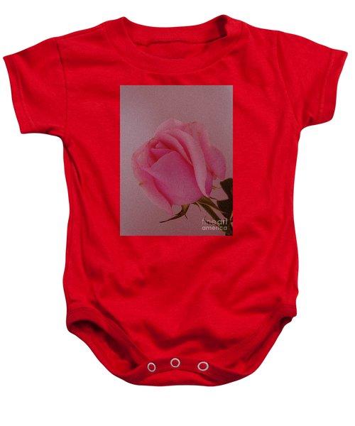 Pink Single Rose Baby Onesie