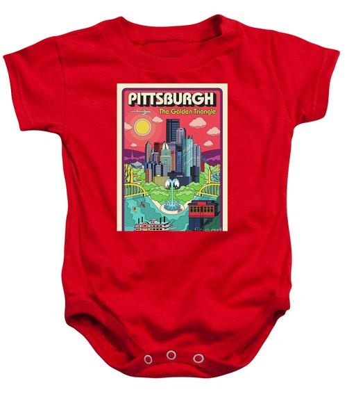 Pittsburgh Poster - Pop Art - Travel Baby Onesie