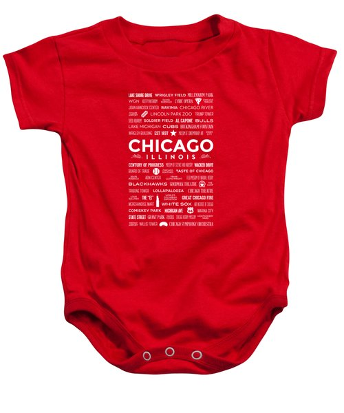 Places Of Chicago On Red Chalkboard Baby Onesie by Christopher Arndt