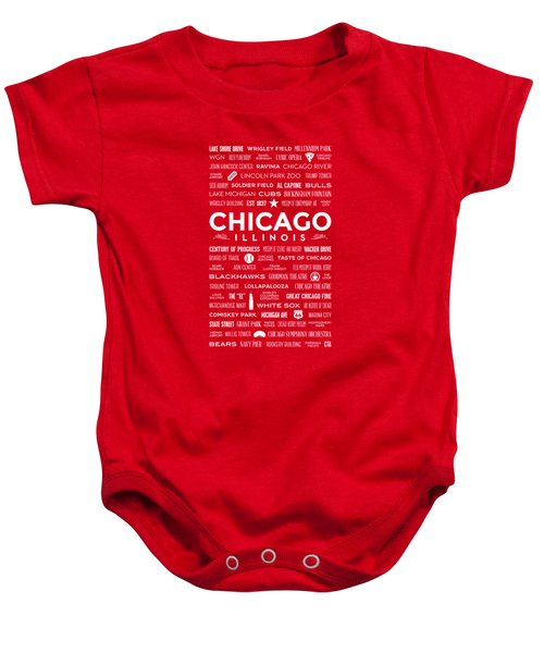 Places Of Chicago On Red Chalkboard Baby Onesie