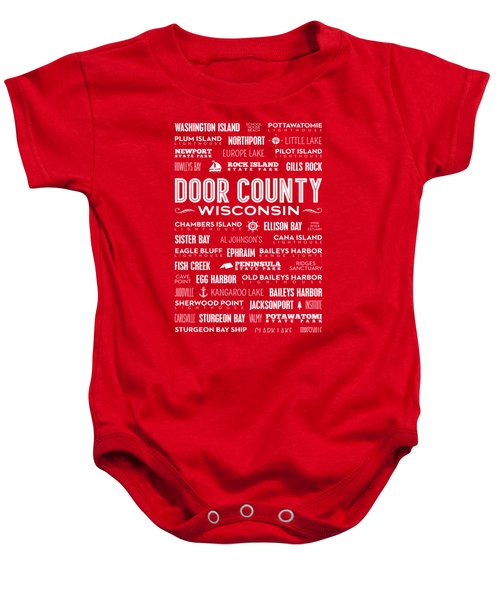 Places Of Door County On Red Baby Onesie by Christopher Arndt