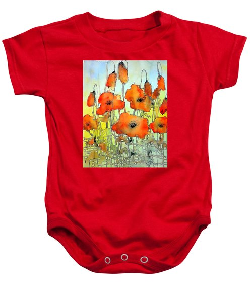 Poppies Abstraction Baby Onesie