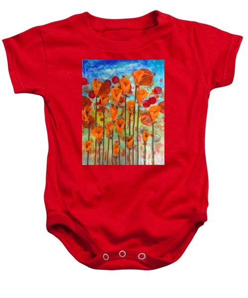 Poppies Make Me Happy Baby Onesie