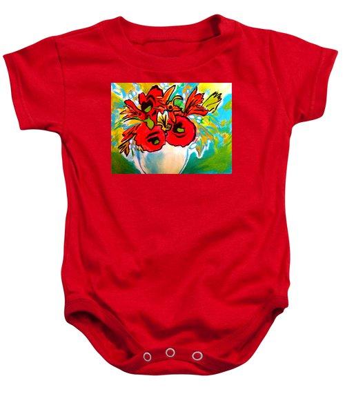Poppy Bouquet Reworked Baby Onesie