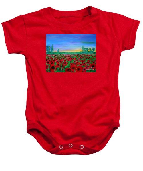 Poppy Field At Sunset Baby Onesie