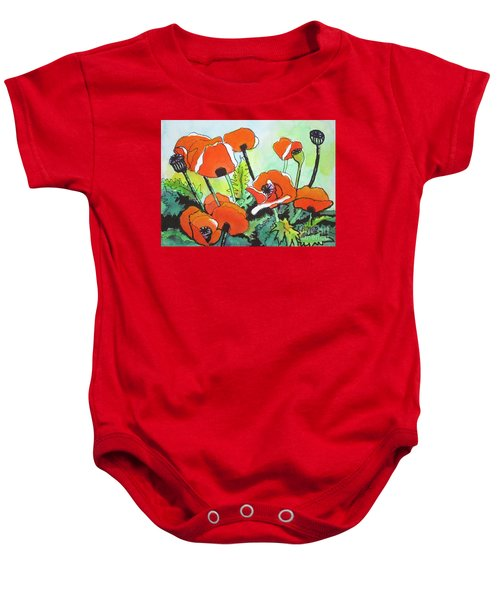 Poppy Floral And Green Baby Onesie