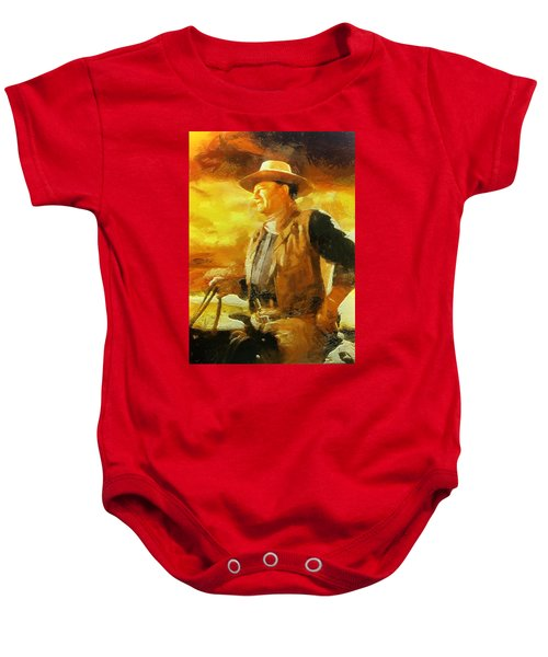 Baby Onesie featuring the digital art Portrait Of John Wayne by Charmaine Zoe