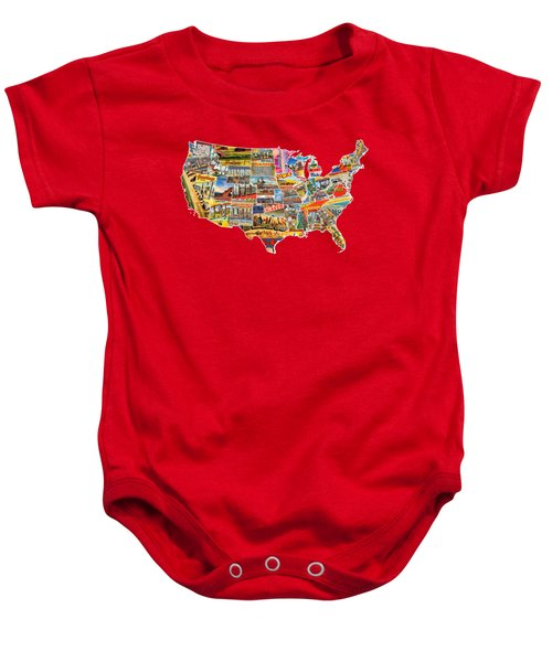 Postcards Of The United States Vintage Usa Lower 48 Map Choose Your Own Background Baby Onesie