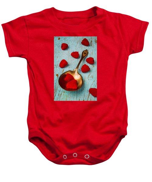 Raspberries With Antique Spoon Baby Onesie